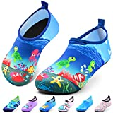 Sunnywoo Water Shoes for Kids Girls Boys,Toddler Kids Swim Water Shoes Quick Dry Non-Slip Water Skin Barefoot Sports Shoes Aqua Socks for Beach Outdoor Sports,7-8.5 Toddler,Sea World-a