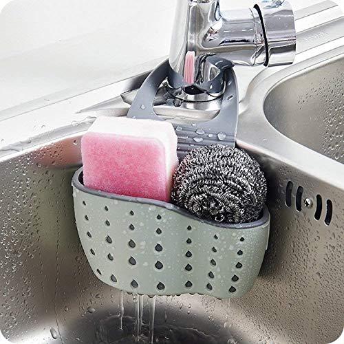 Kitchen Sink Caddy Sponge Soap Holder Drain Rack Double Decker Hanging Basket Storage Suction Cup Organizer Sink Accessorie (Green)