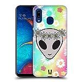 Head Case Designs Floral Headband Alien Emoji Hard Back Case Compatible with Samsung Galaxy A20 / A30 2019