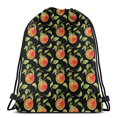 Sanme Kordelzug Rucksäcke Taschen, Hand gezeichnete detaillierte Illustration von Zweigen von Apfelbäumen mit Früchten