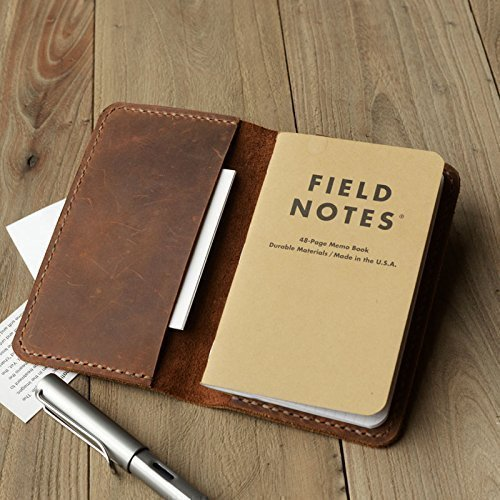 "Leather Journal Cover for Moleskine Cahier Notebook Pocket size 3.5"" x 5.5"" Field Notes Cover Vintage Refillable Notepad Handmade"