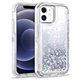 WESADN Compatible with iPhone 12 Pro Case iPhone 12 Case for Women Girls Glitter Cute Protective Shockproof Heavy Duty Clear Sparkle Bling Cover Compatible with iPhone 12 iPhone 12 Pro,Silver