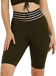Sanwooden Comfortable Yoga Pants Sports Women Striped High Waist Shorts Gym Yoga Solid Color Slim Fifth Pants Pants
