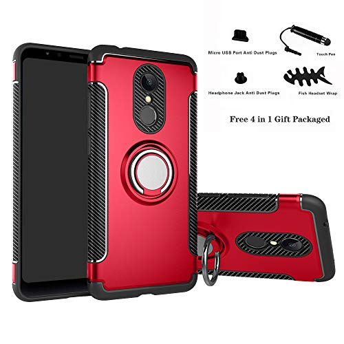 Labanema Xiaomi Redmi 5 Funda, 360 Rotating Ring Grip Stand Holder Capa TPU + PC Shockproof Anti-rasguños teléfono Caso protección Cáscara Cover para Xiaomi Redmi 5 - Rojo