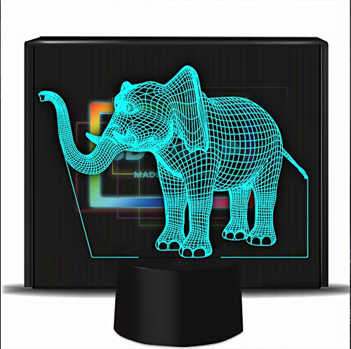 Novelty Elephant 3D Illusion Lamp Kids Bedroom Led Night Lights -7 Colors Flashing USB Touch Sensor Desk Light for Christmas Birthday Gifts, Home Decoration Lamps
