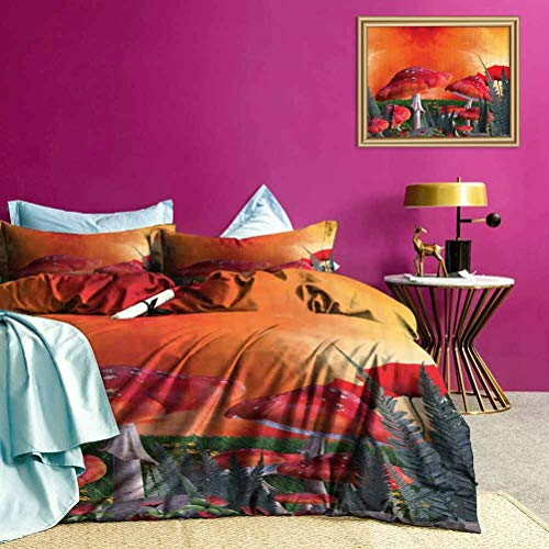 Adorise Duvet Cover Set Quilt Cover Clouds Leaves Poppies Modern Lightweight Coverlet Quilt Set Protecting Your Duvet - King Size