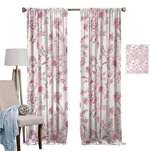 Wear Pole Curtains Window Curtain Romantic Rose Flower Bouquet Blooms in Soft Pastel Tones Botanical Rococo Design Light Pink Energy Efficient Room Darkening Set of 2 Panels W96 x L96