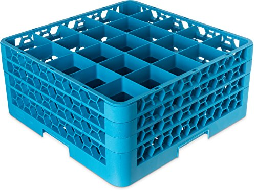 Carlisle RG25-314 OptiClean 25 Compartment Glass Rack with 3 Extenders, 8.72
