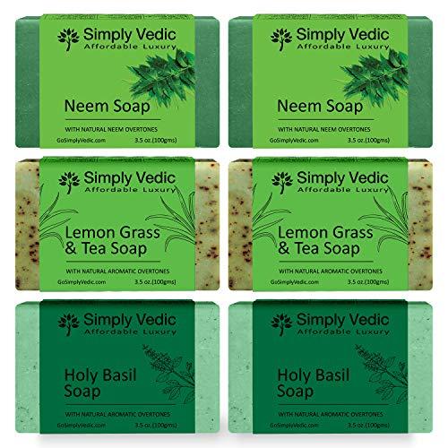 Simply Vedic 6-Pack Herbal Soap Bar Collection For Body, Hand, Face; Neem (2Pc), Lemongrass-Tea (2Pc), Holy Basil (2Pc). 100% Vegan Cold Pressed Handmade For Men & Women (3.5 Oz. X 6)