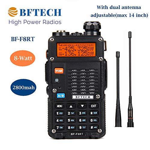 BFTECH BF-F8RT(BF-F8+ 3rd Gen) 8-Watt Dual Band Two-Way Radio 2800mAh Battery (136-174Mhz VHF & 400-520Mhz UHF) High Gain NA-772R Stretchable Antenna