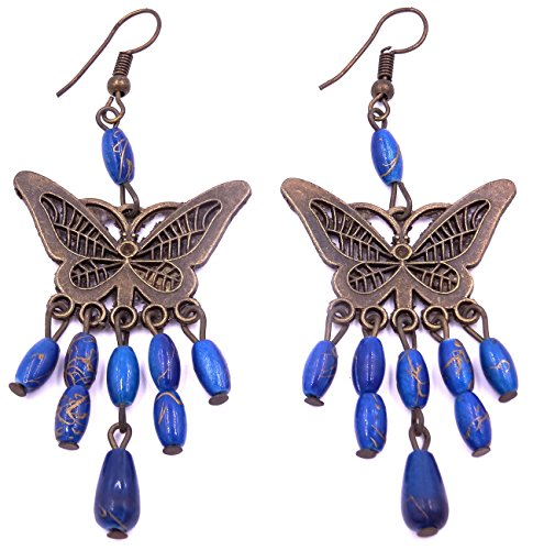 Générique Boucles d'oreilles Ethnique Bijoux Bohème Chic Pendantes Métal Inde Indiennes Artisanal Bleu Papillon