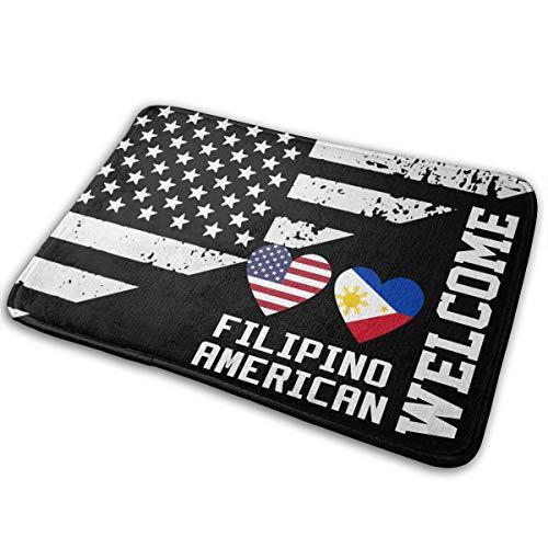 Filipino American Hearts Car Non Slip Doormat For Garage Patio High Traffic Areas Shoe Rugs Carpet