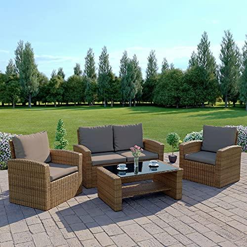 GSD Rattan Garden Furniture 4 Piece Patio Set Table Chairs - Grey, Black or Brown (Light Brown Rattan, Dark Brown Cushions)