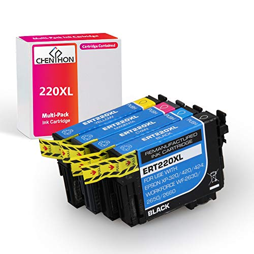 CHENPHON Remanufactured Ink Cartridge Replacement for Epson 220XL 220 T220XL with Epson Workforce WF2630 WF2650 WF2760 WF2660 WF2750 AIO Inkjet Expression Home XP420 XP424 XP320 Photo Printer 4 Packs