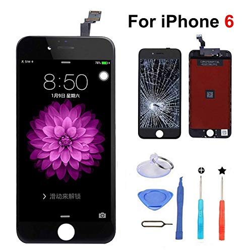 Compatible with iPhone 6 Screen Replacement (Black),LCD Display & Touch Screen Digitizer Frame Assembly Set with 3D Touch and Repair Tools