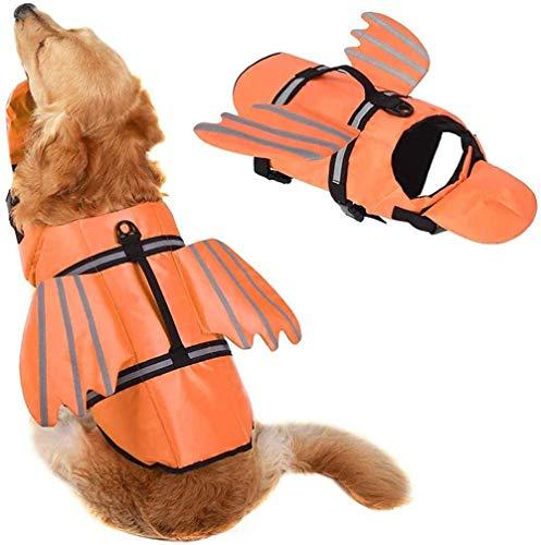 Zwemvest Voor Honden, Uniek Ontwerp Met Vleugels Ontwerp Voor Zwemvest Voor Honden, Reddingsboei Voor Honden, Reddingsboei Met Handvat Voor Zwemmen, Zwembad, Strand, Varen Voor Grote Honden,orange,XS