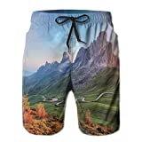 Photo de DHNKW Boys Swimming Shorts Funny Printed,Picture of Alps with A Rainbow and Green Field Mountain Range in The Morning,Quick Dry Beach Board Trunks with Mesh Lining,XL par
