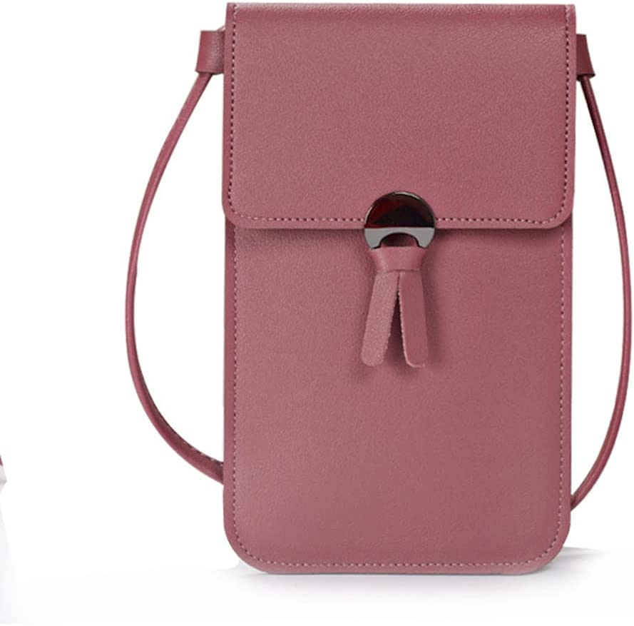 ISYSUII Small Crossbody Case for Samsung Galaxy S20 FE Touch Screen Cell Phone Purse Cell Phone Bag Leather Wallet Case with Credit Card Holder Shoulder Strap for Teens Girls,Dark Pink