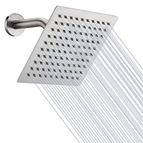 HIGH PRESSURE Rain Shower head, NearMoon High Flow Stainless Steel 8 Inch Square ShowerHead, Pressure Boosting Design, Awesome Shower Experience Even At Low Water Flow (Brushed Nickel)