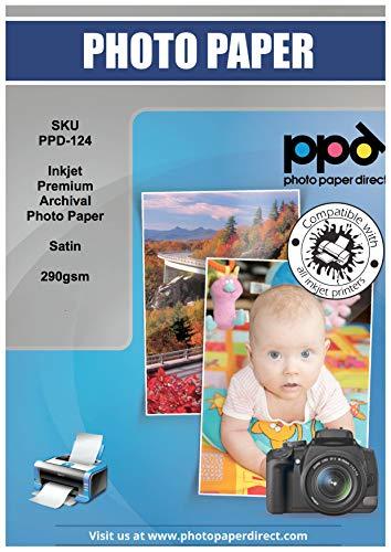 PPD A4 x 50 Blatt Inkjet 290 g/m2 PREMIUM Fine Art Photo Art Fotopapier Seidenmatt - Archivierbar für Fotodrucke mit langer Haltbarkeit, ohne Verblassen und Farbveränderungen - PPD-124-50
