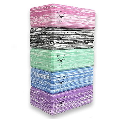 Base yoga Yogablock – 1 eller 2 st set – unikt stark/fastt/lätt EVA-skum stödblock/tegel (blå...