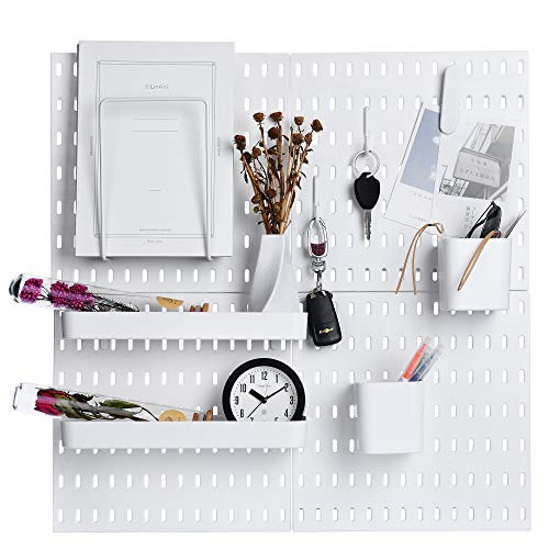 """Keepo Pegboard Combination Kit with 4 Pegboards and 14 Accessories Modular Hanging for Wall Organizer, Crafts Organization, Ornaments Display, Nursery Storage, 22"""" x 22"""", White 