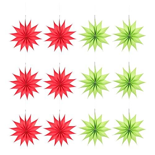 Amosfun 12Pcs Papier Sterne Hängen Dekorationen Tissue Papier Fan Blume Dekoration Pom Poms Blumen für Hochzeiten Weihnachten Urlaub Geburtstag Party Feier
