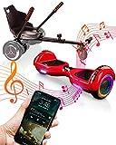 ACBK Bluetooth UL2272 Hoverboard + Silla Kart, Juventud Unisex, Rojo, Rueda LED 6.5'