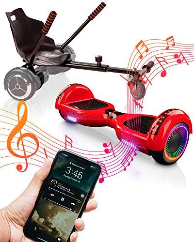 """ACBK - Pack HoverKart Negro + Hoverboard Patinete Eléctrico Autoequilibrio con Ruedas de 6.5"""" (Altavoces Bluetooth + Ruedas Led) Velocidad máxima: 10-12 km/h - Autonomía 10-12 km (Rojo)"""