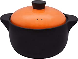 Double Handle Lid Pure Ceramic BAKOUSTAR Tureen Soup with open fire Ceramic Round Black Dish Casserole/Clay Pot/Earthen Po...