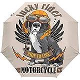 Hippie Dog Summer Ride Bike Motocicleta Paraguas Abierto automático Sun Rain Umbrella Anti UV Plegable Compacto Automático Paraguas