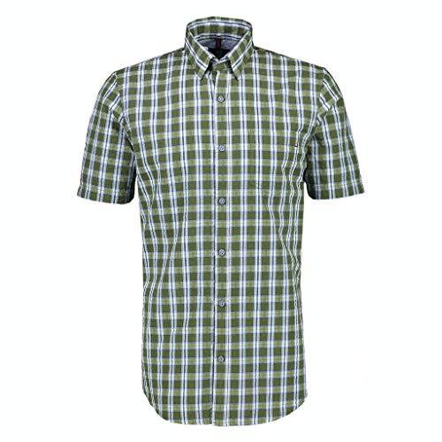 LERROS Herren Kariertes Kurzarmhemd Hemd, Leaf Green, XXL
