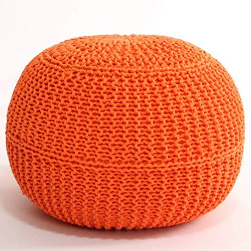 XBCDX Round Hand Knitted Pouf Foot Stool Ottoman,cable Style Cotton Braid Cord Knit Bean Bag Floor Chair For Hoom-orange 50x50x40cm(20x20x16)