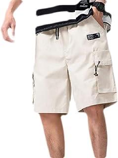 Frieed Men Elastic Waist Outdoor Multi-Pockets Big & Tall Loose Beach Cargo Shorts