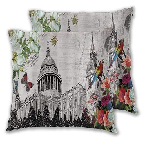 LOSUMIGE 2pz Federa per Cuscini St. Paul 's Cathedral Vintage British London Nostalgico retrò Acquerello Floreale Pappagallo Fiore Cuscino Copertura Decorazione Domestica 60cm x 60cm