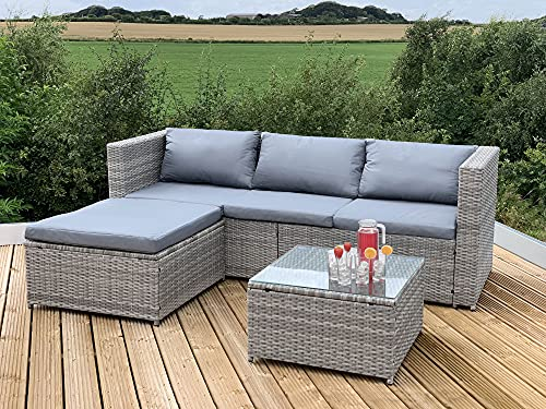 GSD Victoria Rattan Garden Furniture Corner Sofa Lounge Chase Set - Modular 4 Piece In/Outdoor - 3 Colours To Choose From (Grey)