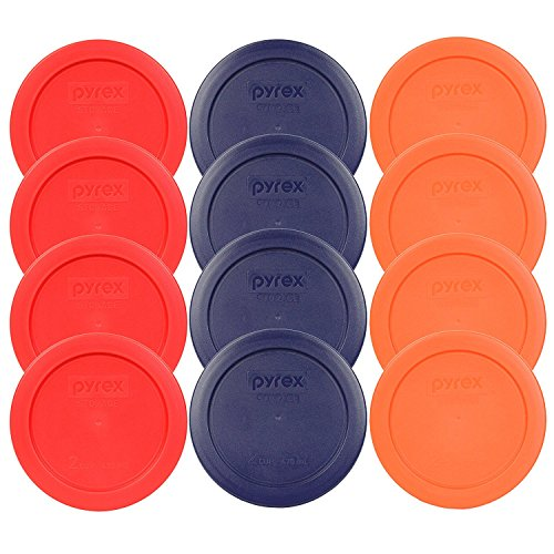 Pyrex 2 Cup Round Storage Lid #7200-PC for Glass Mixing Bowl-12 Pack (4-Red,4-Blue,4-Orange)