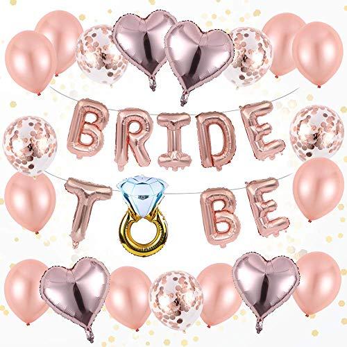 OleOletOy JGA Junggesellenabschied Deko Luftballons Set - Latex Ballons in Roségold, Konfetti Luftballons, Bride to be Folienballon Girlande- Eine Perfekte Stimmung für den Polterabend