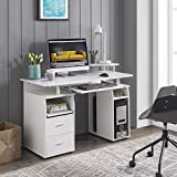 kupet Computer Desk with Drawers and Pull-Out Keyboard Tray, for Home Office Study Writing, White