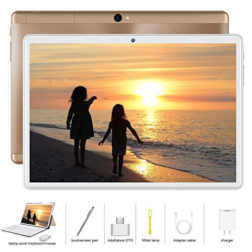 Tablet 10 Zoll 4G LTE Android 9.0 Dual SIM, 2 in1 Tablet mit Tastatur 4 GB RAM und 64 GB ROM, Quad Core Prozessor, 1080p Full HD IPS Display, WiFi, Bluetooth, GPS, OTG, Typ C - Gold