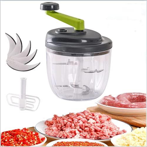 Molinillo de carne y verduras de mano con cuchillas de acero inoxidable, 500/900 ml para uso doméstico, rallador espiral para verduras y frutas, trituradora en espiral (900 ml)