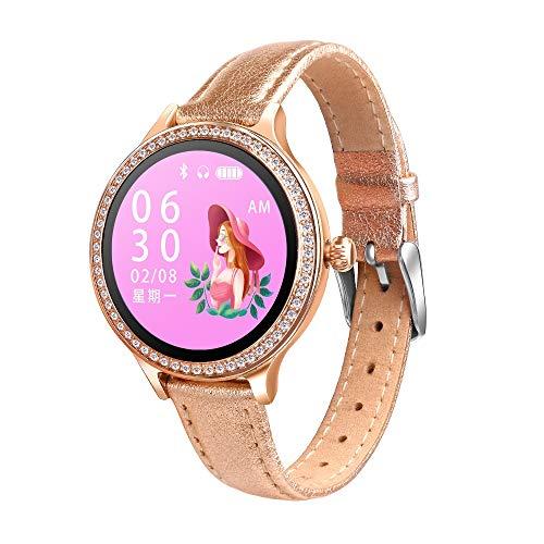 Luoshan M8 1.04 Pulgadas IPS Color Pantalla Smartwatch IP68 for Mujer Impermeable, Correa de Cuero, Recordatorio de Llamadas de Soporte/Monitoreo de la frecuencia cardíaca/Monitoreo de la presión