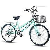 DULPLAY Bicyclette Pliable,Léger Vélo De Ville De Banlieusard 7 Vitesse Facile à Installer pour Adulte Unisexe Vert 7 Vitesse 24 Pouces
