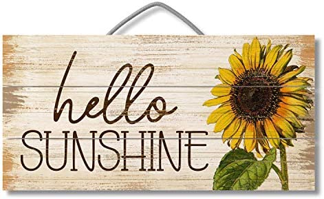 Hello Sunshine Custom Wood Signs Design Hanging Gift Decor for Home Coffee House Bar 5 x 10 product image