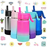 CHILLOUT LIFE 12 oz Insulated Water Bottle with Straw Lid for Kids + 20 Cute Waterproof Stickers - Perfect for Personalizing Your Kids Metal Water Bottle