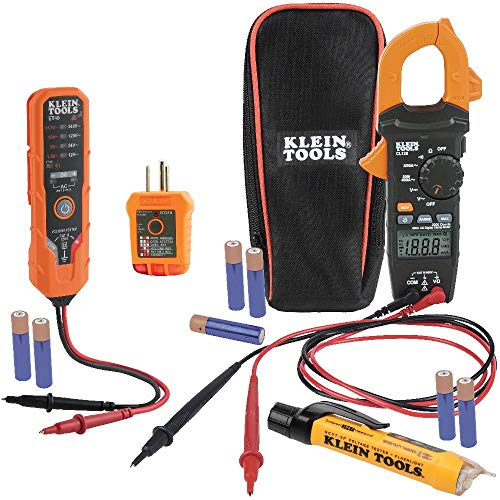 Klein Tools CL120VP Electrical Voltage Test Kit with Clamp Meter, Three Testers, Test Leads, Pouch and Batteries