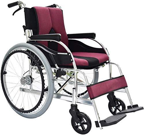 SILOLA Selbstklappender Leichter Rollstuhl Leichter Rollstuhl Handlauf Fußstütze wiegt nur 11 kg-Weiß Ergonomisch geeignet für ältere Menschen und Reisende