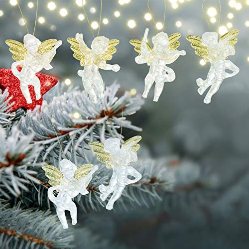 24pcs Christmas Clear Angel Hanging Ornaments- Xmas Golden Wings Angel Doll Pendants in 4 Styles Christmas Elves Tree Decor Hangable Christmas Angel Figurines for Christmas Tree Decors Holiday Present