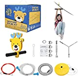 4YANG 24m Zip Line Kit, 80ft 6mm Diameter Heavy Duty Compound Galvanized Steels Cable Zip Line Kit with Stainless Steel Spring Brake and Seat Zip Lines For Kids and Adults Seat Zip Lines