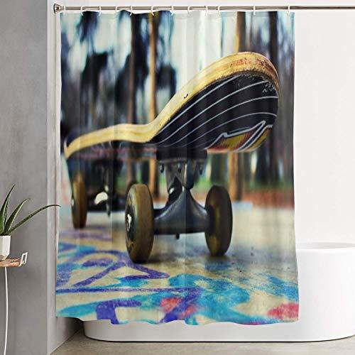 VINISATH Duschvorhang,Schönes Skateboard in der Welt,wasserdichter Badvorhang mit 12 Haken Duschvorhangringen 180x180cm
